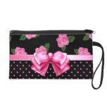 Pink Roses & Polka Dots Wristlet Clutches