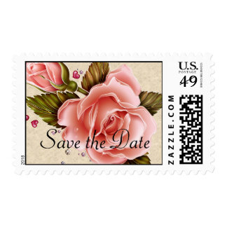 Pink Roses Postage Stamp