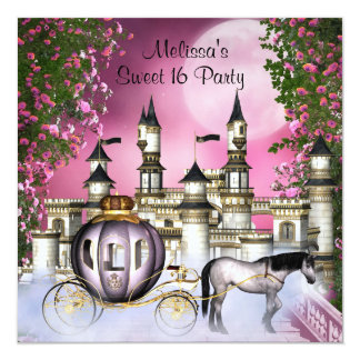Pink Roses Princess Sweet 16 Birthday Party Card