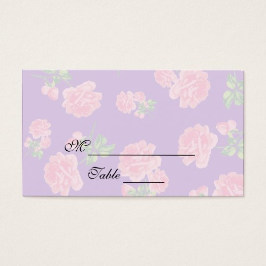 Pink roses - purple Floral Placecards Business Card
