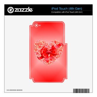 Pink Roses, Red Ribbon and Heart Decal For iPod Touch 4G