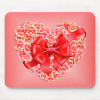 Pink Roses, Red Ribbon and Heart Mouse Pad