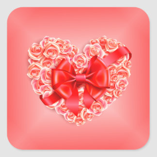 Pink Roses, Red Ribbon and Heart Square Stickers