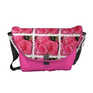 Pink Roses Rickshaw Messenger Bag