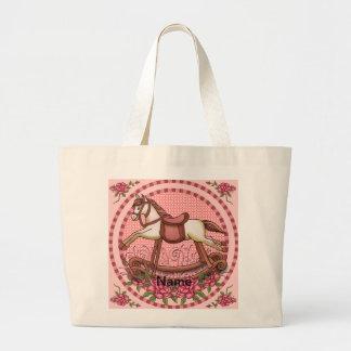 Pink Roses Rocking Horse large tote bag