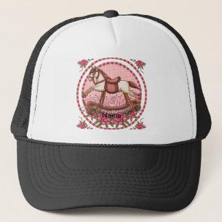 Pink Roses Rocking Horse Trucker Hat