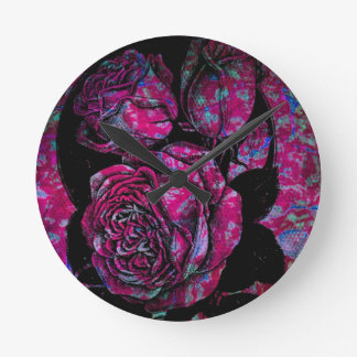 Pink Roses Round Clock