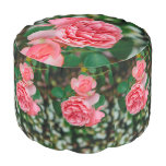 Pink roses round pouf