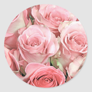 Pink Roses Round Stickers