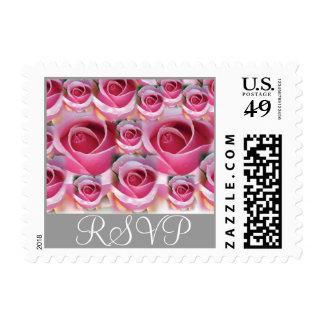 Pink Roses RSVP Postage Stamp