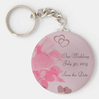 Pink Roses Save the Date Keychain
