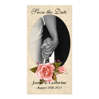 Pink Roses Save the Date Photo Cards
