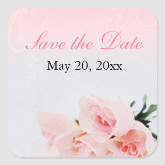 Pink Roses Save the Date Stickers