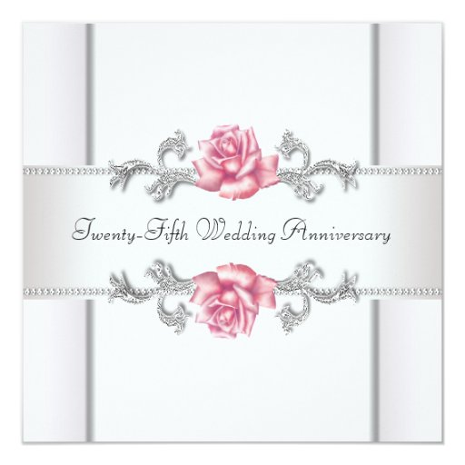 25th Wedding Anniversary Gift Experiences : Pink Roses Silver 25th Wedding Anniversary Invitation Zazzle