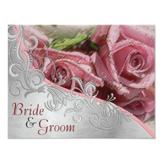 "Pink Roses & Silver - Flat 2 sided Wedding Invite 4.25"" X 5.5"" Invitation Card"