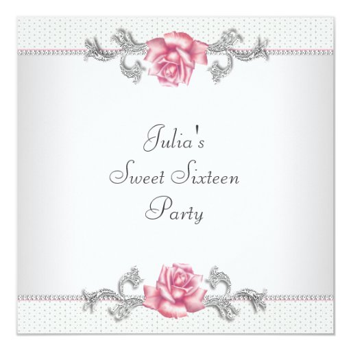 Pink Roses Silver Pink Sweet Sixteen Party 5.25x5.25 Square Paper Invitation Card