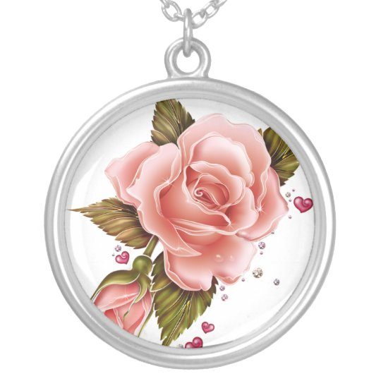 Pink Roses Silver Plated Necklace