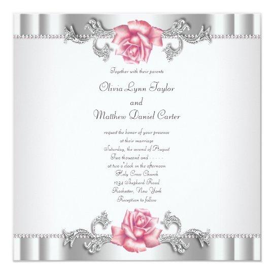 Pink Roses Silver White Pink Elegant Wedding Card