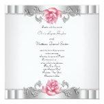 Pink Roses Silver White Pink Elegant Wedding Custom Invites
