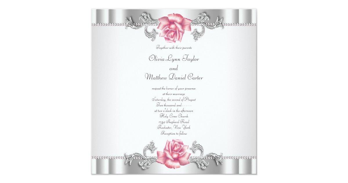Pink Roses Silver White Pink Elegant Wedding Invitation