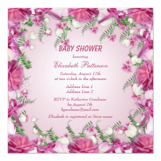Pink Roses & Snowdrops Baby Girl Shower Card