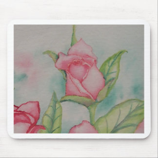 Pink Roses Soft Romantic Watercolor Girly Pretty Mouse Pad