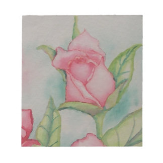 Pink Roses Soft Romantic Watercolor Girly Pretty Notepads