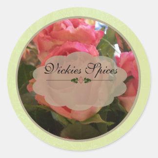 Pink Roses Spice Jar Labels B Sticker