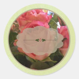 Pink Roses Spice Jar Labels Sticker