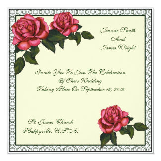 """Pink Roses, Square Invitation: Wedding Or Other 5.25"""" Square Invitation Card"""
