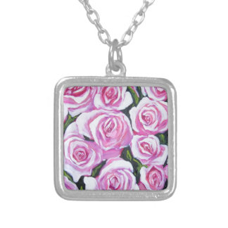 pink roses square pendant necklace