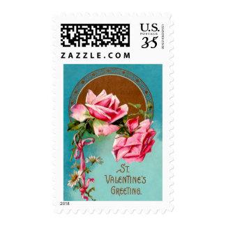Pink Roses St. Valentine Greetings Postage Stamp