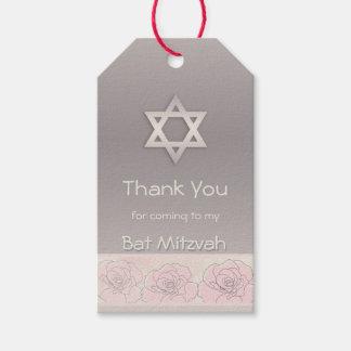 Pink roses, Star of David Bat Mitzvah Thank You Gift Tags