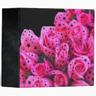Pink Roses Stars Binder