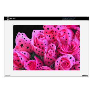 "Pink Roses Stars Decal For 15"" Laptop"
