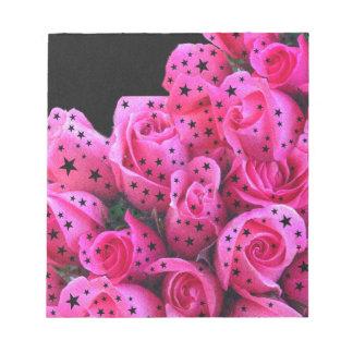 Pink Roses Stars Notepad