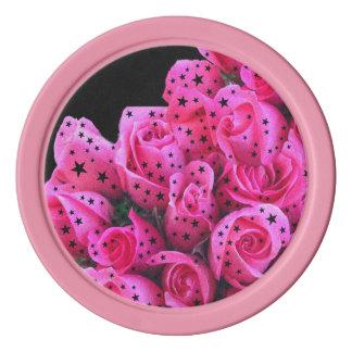 Pink Roses Stars Poker Chips Set