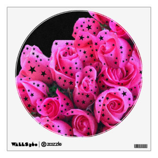 Pink Roses Stars Wall Decal