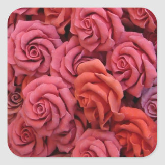 Pink roses square stickers