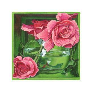Pink Roses Still-Life Trompe-loeil Painting Canvas Print