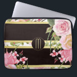 "Pink Roses Stripe Pattern Monogram Laptop Sleeve<br><div class=""desc"">This laptop case features a stunning image of pink watercolor flowers at the left bottom, along with a bouquet of pink watercolor roses at the right corner. The flowers are placed on a striped background. The stripes are black and gold, with a matching stripe rose pattern interspersed among them. Your...</div>"