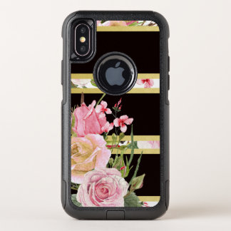 Pink Roses Stripe Pattern OtterBox Commuter iPhone X Case