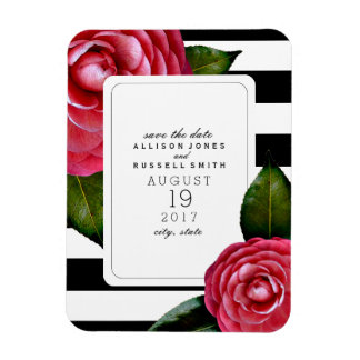 Pink Roses Striped Save The Date Magnet Rectangular Photo Magnet