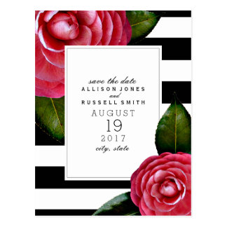 Pink Roses Striped Wedding Save The Date Postcard