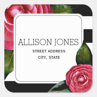 Pink Roses + Stripes Address Sticker