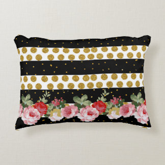Pink roses stripes gold faux glitter polka dots decorative pillow
