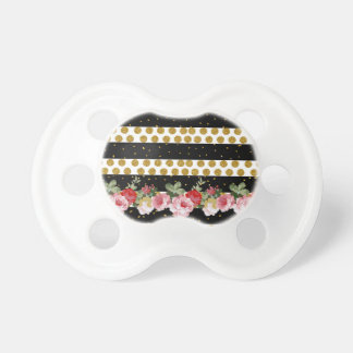 Pink roses stripes gold faux glitter polka dots pacifier