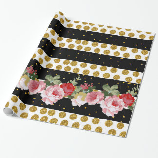 Pink roses stripes gold faux glitter polka dots wrapping paper