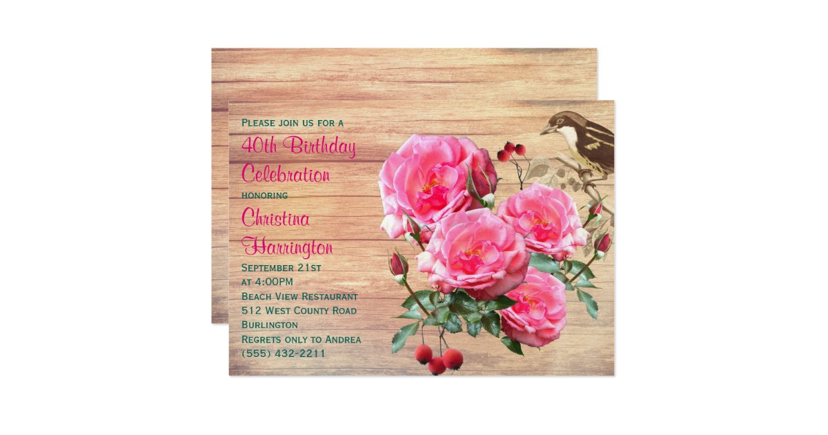 Pink Roses Summer Birthday Party Card  Zazzle