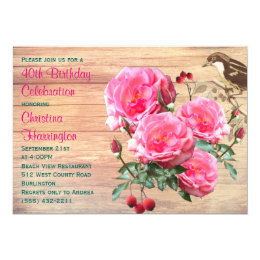 Pink Roses Summer Birthday Party Card